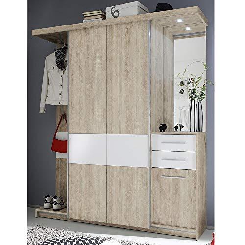 Avanti trendstore - swindal - guardaroba completo in laminato quercia sonoma e bianco. illuminazione led compresa. dimensioni: 174x196x42cm
