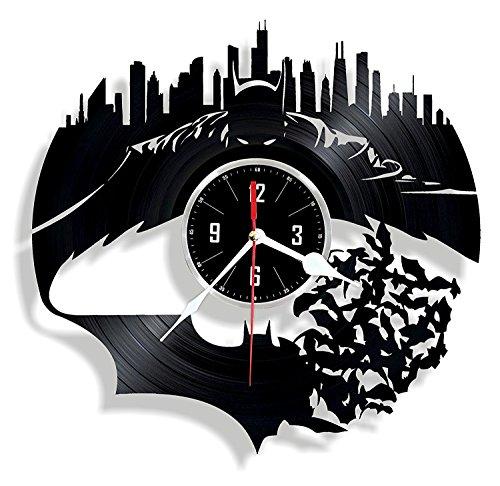 HMGift Batman Vinyl Wanduhr-Tolles Geschenk für Geburtstag, Jahrestag Oder Jede Andere Gelegenheit-Schöne Home Decor-Einzigartiges Design, Das aus Retro Vinyl Record - Dark Vinyl-akzenten