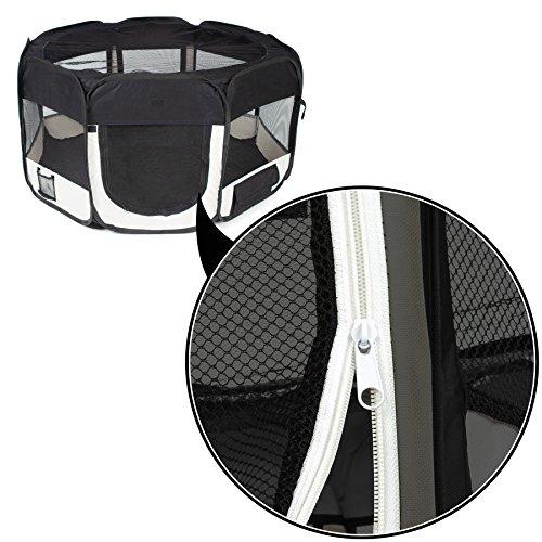 TecTake Welpenlaufstall Tierlaufstall schwarz für Kleintiere wie Hunde, Hasen, Katzen -