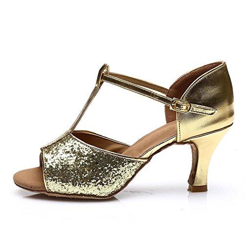 HROYL Damen Tanzschuhe/Latin Dance Schuhe Satin Ballsaal Modell-D7-216 Gold 40 EU