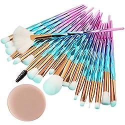 99native 20 Pcs/Set Maquillage Brush Set Makeup Brushes Kit Outils Maquillage Professionnel Maquillage Pinceaux Yeux Pinceau pour Les +1Pc Houppettes à Poudre (E)