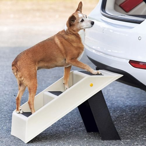 Auto-hund-bett (Tri-Kottmann 3-Stufige Hunde Katzen Welpen Haustiere Treppe, klappbar, weiss 37cm hoch, mit Anti-Rutsch Gummierung, geeignet für Auto, Sofa, Bett, Stuhl - sowie innen und außen)