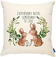 KRAFTYGIFTS Bunny Rabbit Love Couple Cushion Cover Personalised Cute Valentines KC14
