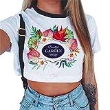 Baijiaye Femme Occasionnels Navel Exposé Pull T-Shirt Lâche Crop Tops Eté Respirant Impression Tee Shirt Manches Courtes Pattern#3 L