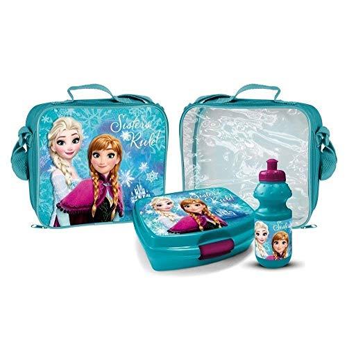 Elsa und Anna Trinkflasche mit Brotbox Set und Kindergartentasche Lunchbox Frozen Tasche mit Brotzeitdose und Flasche Pausenset Frozen Die Eiskönigin Jausen Box für Mädchen