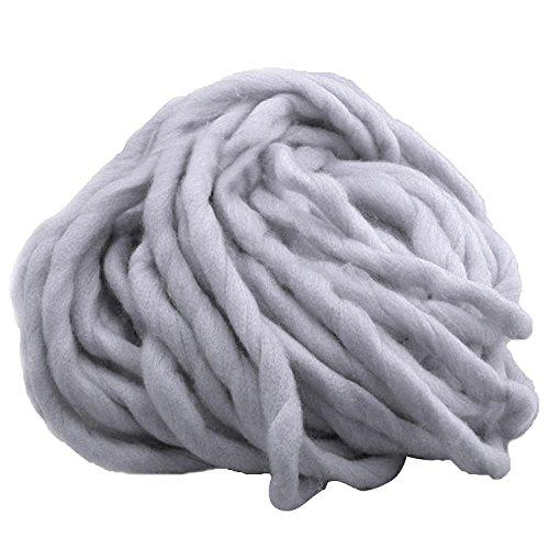 1 Strang Dicken Sperrige Klobig aus Weicher Baumwolle Superfine Faser Garn Hand Stricken Häkeln Weben Teppich Machen Baumwollgarn Grau (Super Sperrige Garn Für Teppiche)