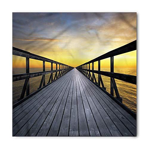 VVIANS Landscape Bandana, Long Wood Pier by the Sea, Unisex Head and Neck Tie S60*60CM