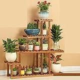 LEITSA- Mensola in legno di mensola multi-piani multi-carne alte e basse bonsai balcone verde radium soggiorno scaffale da vaso da giardino interno e da esterno ( stile : B )