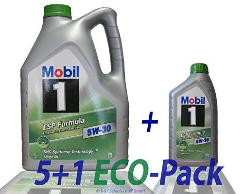 1 L + 5 L = 6 Liter Mobil 1™ ESP Formula 5W-30 Motor-Öl Motoren-Öl; Spezifikationen/Freigaben: ACEA C2, C3; API SM / SN; JASO DL-1; BMW Longlife 04; MB-Freigabe 229.31/229.51; VW 504 00/507 00; Pors