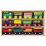 La Collezione Vagoni e Locomotive in Legno da 12 Pezzi Playbees Compatibile con Ferrovia in Legno Thomas, Brio, Chuggington e Altri Ancora immagine