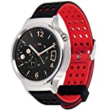 Greatfine 18mm Bracelet en Silicone Souple Huawei Watch W1 Classic/Nokia Health Watch/Huawei Fit/Withings Activite and 18MM Montre Watch (BlackRed)