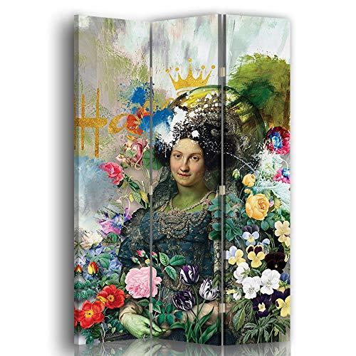 carowall CAROWALL.COM Wandtrenner Frau mit Blumen Porträt Paravent Mehrfarbig 110x175 cm