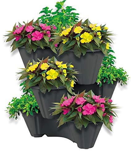 UPP Pflanzturm mit stapelbaren Pflanzöpfen | Vertikaler Garten mit 3 Etagen | Platzsparend für bis zu 9 Pflanzen & Kräuter [Anthrazit] (Kräuter-garten)