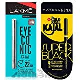 #4: A B S Group Lakme Eyeconic Deep Black Kajal with Maybelline New York The Colossal Kajal - Super Black -0.35g