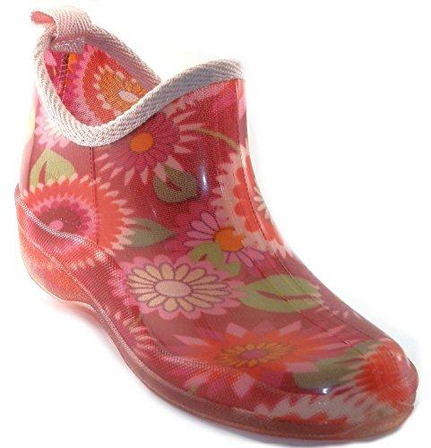 sh18es Shoes8teen Womens Short Rain Boots Prints & Solids Black