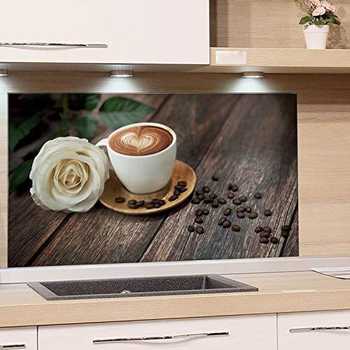 GRAZDesign Küchenrückwand Glas braun - Küchenspiegel Kaffee mit Rose - Herdblende Holzoptik / 100x50cm