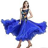 ZZX Modern Dance Walzer Samtdruck Performance-Turnierkleidung Nationaler Standard Gesellschaftstanz Großes Schwingenkleid Abendkleid (Color : Blue, Size : XL)