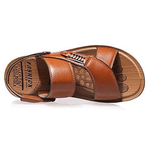 Oasap Men's Leather Open Toe Flat Beach Sandals Black