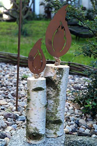 Edelrost 2tlg. Flammen mit Dorn 10/20cm für Holz Garten Deko