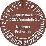 LEMAX® Prüfplakette Geprüft DGUV Vorschrift 3 NP 18-23,braun,Dokufolie,Ø 30mm,500/Rolle