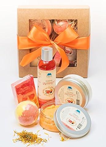 Handgefertigt Natürlich Grapefruit Geschenkset 5 tlg. Creme Salz Peeling Duschgel Seife Badebombe - Handmade Deluxe Relax Natural SPA Gift Set Grapefruit