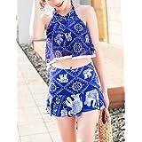 Leoie Woman Swimsuit Suit Bikini Printed Backless Sling Tops + Boxer Skirt Swimming Bathing Suit