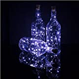 Wine Bottle Lights with Cork, 10 Pack Battery Operated LED Cork Shape Silver Copper Wire Colorful Fairy Mini String Lights for DIY, Party, Decor, Wedding Indoor Outdoor(Cool White)