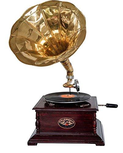 aubaho Nostalgie Grammophon Gramophone Dekoration mit Trichter Grammofon Antik-Stil (g)