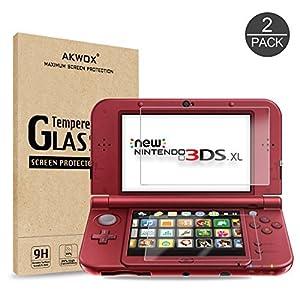 2 IN 1 Schutzfolie für Nintendo 3DS XL Akwox 9H Härtegrad Panzerfolie Displayschutz Glasfolie Stoßfest Kratzfest HD