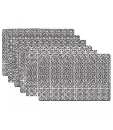 Set de Table Design Petits Carreaux de Ciment en Vinyle - Set de 6
