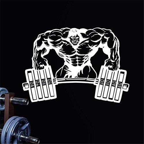 JXND Gym Wall Sticker Fitness Horizontal Barbell Muscle Wallpaper Bodybuilding Poster Gym Sticker (Horizontale Wallpaper)