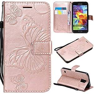Bravoday Galaxy S5 Hülle Handyhülle Galaxy S5 Schutzhülle [Kartenfach] [Magnetverschluss] TPU Soft Shockproof für Galaxy S5