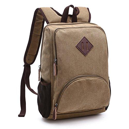 Outreo Rucksäcke Vintage Schultaschen Herren Rucksack Schul Freitag Tasche Uni Backpack Schulrucksack Weekender Daypack Reiserucksack für Outdoor Sporttasche Laptoprucksack Canvas Beige