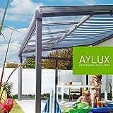 Terrassenüberdachung Terassendach Komplettanlage Überdachung Veranda Pergola aus Aluminium [ ALU ] Dach Carport (4m x 3m) (Gestellfarbe Weiß)