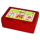 Brotdose mit Namen Nora und schönem Eulen-Motiv für Mädchen, rot - Brotbox - Vesperdose - Vesperbox - Brotzeitdose mit Vornamen