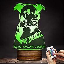 ZCLD Mascota Perro Cachorro Lámpara de Mesa 3D Habitación para Niños Luz Nocturna Americano Flexible Pitbull