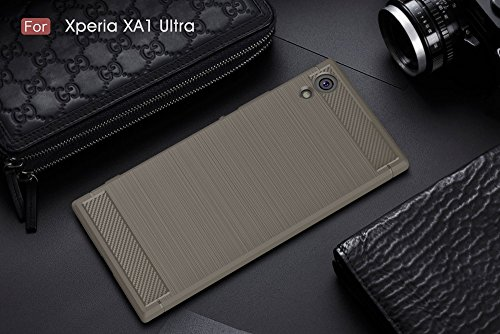 EKINHUI Case Cover Dünne und Leightweight gebürstete Carbon Fibre Robuste Rüstung Back Cover Stoßstange Fall Shockproof Drop Resistance Shell Cover für Sony Xperia XA1 Ultra ( Color : Blue ) Gray