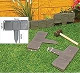 Realmax®, bordura in plastica effetto pietra, 10 pezzi, strutture di sostegno a martello da prato, bordi da giardino grigio scuro