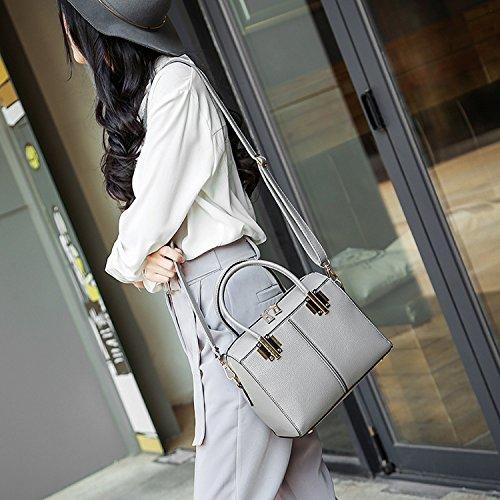 Weibliche Tasche Kleine Tasche Retro Handtasche hellgrau