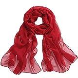 BZLine Frauen lange weiche Wrap-Dame Shawl Chiffon- Schal, 160 * 50cm (Rot)