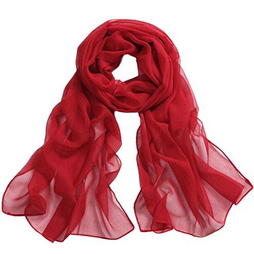 BZLine® Frauen lange weiche Wrap-Dame Shawl Chiffon- Schal, 160 * 50cm (Rot)