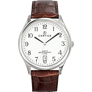 Certus - 610480 - Montre Homme - Quartz Analogique - Cadran Blanc - Bracelet Cuir Marron