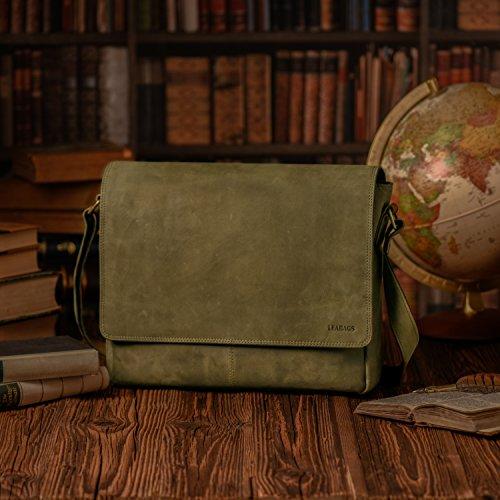 LEABAGS Oxford - Borsa Messenger in vera pelle di bufalo - Look vintage - Noce moscata Oliva