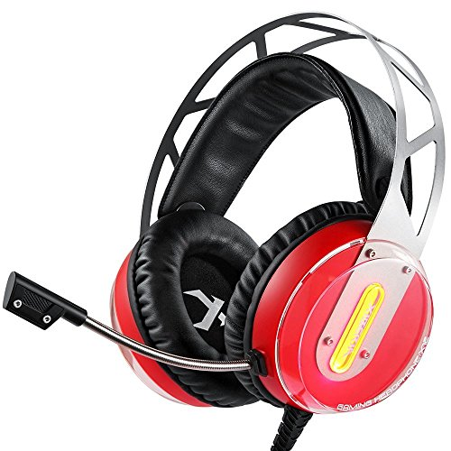 Gaming Headset XIBERIA X12 über Ohr Kopfhörer mit Mikrofon Lautstärkeregelung LED Licht PC-Adapter für Computer PS4 PlayStation 4 Laptop Mac (Rot)