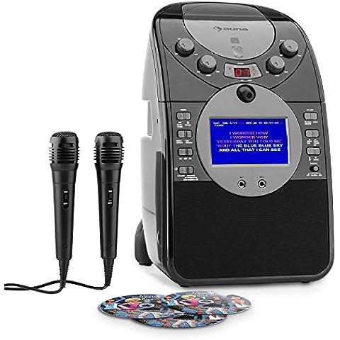 auna ScreenStar equipo de karaoke con pack de 3 CDs (cámara, dos micrófonos, pantalla TFT 3,5 pulgadas, ranura para tarjetas de memoria, USB) -