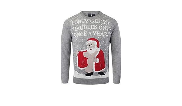 47dfc2aea Mens Premium Xmas Jumper Broken Standard Rude Santa Baubles Christmas  Funny: Amazon.co.uk: Clothing