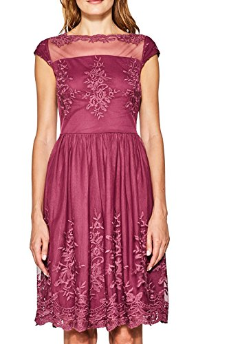 ESPRIT Collection Damen Kleid 067EO1E030, Rot (Berry Red 625), XX-Large