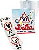 Unbekannt 2 TLG. Set _ Geburtstag -  50 Jahre - Happy Birthday  - Erinnerungsalbum / Fotoalbum + Toilettenpapier Rolle - Gebunden zum Einkleben & Eintragen - Album & ..