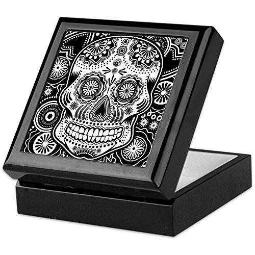 CafePress-Totenkopf-Keepsake Box, fertig Hartholz Jewelry Box, Samt Gefüttert Memento Box