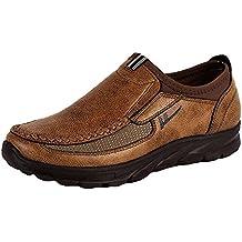 WuXi Hombre Zapatos Mocasines Cuero Mocasín Slip On Entrenadores Comodidad Respirable Clásico para Caminar Ocio Negocio
